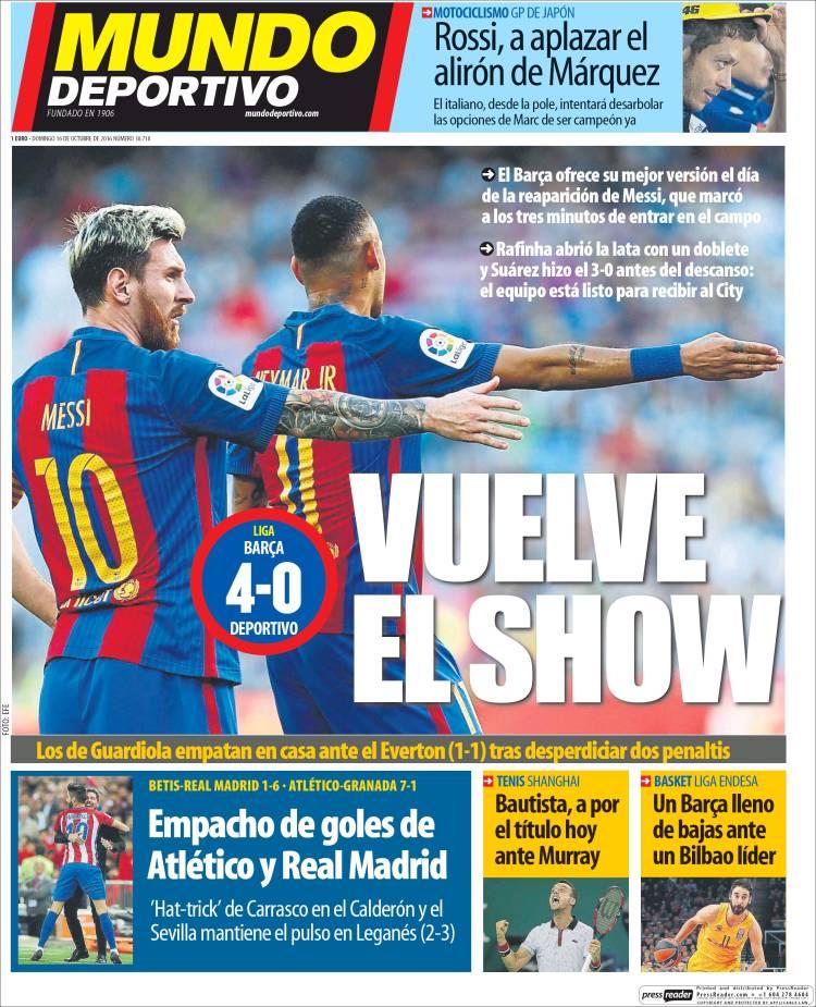 Mundo Deportivo Portada show 16.10.16