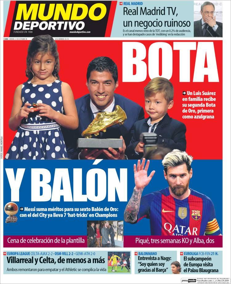Mundo Deportivo Portada Balón bota 21.10.16