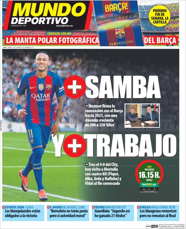 Mundo Deportivo Portada Samba 22.10.16