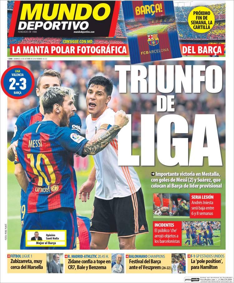 Mundo Deportivo Portada 23.10.16