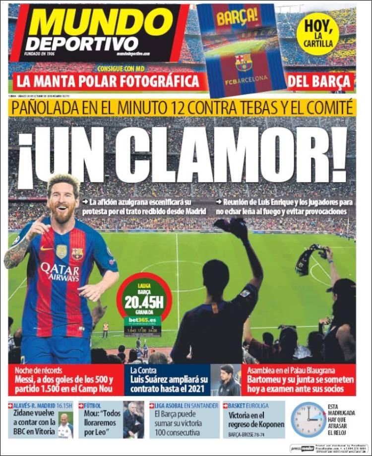 Mundo Deportivo Portada Clamor 29.10.16