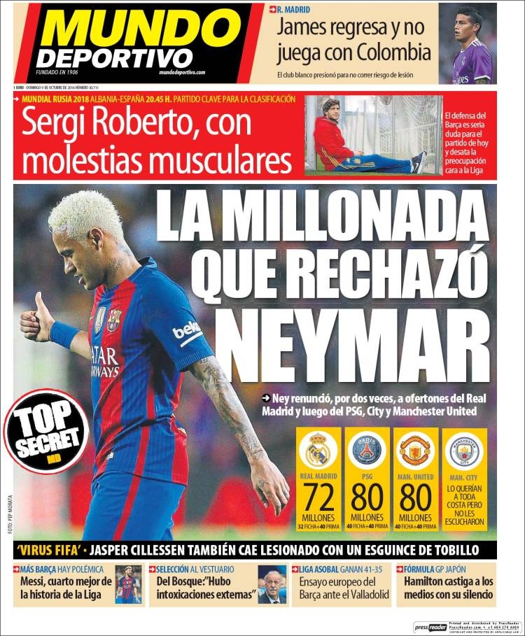 Mundo Deportivo Neymar 09.10.16