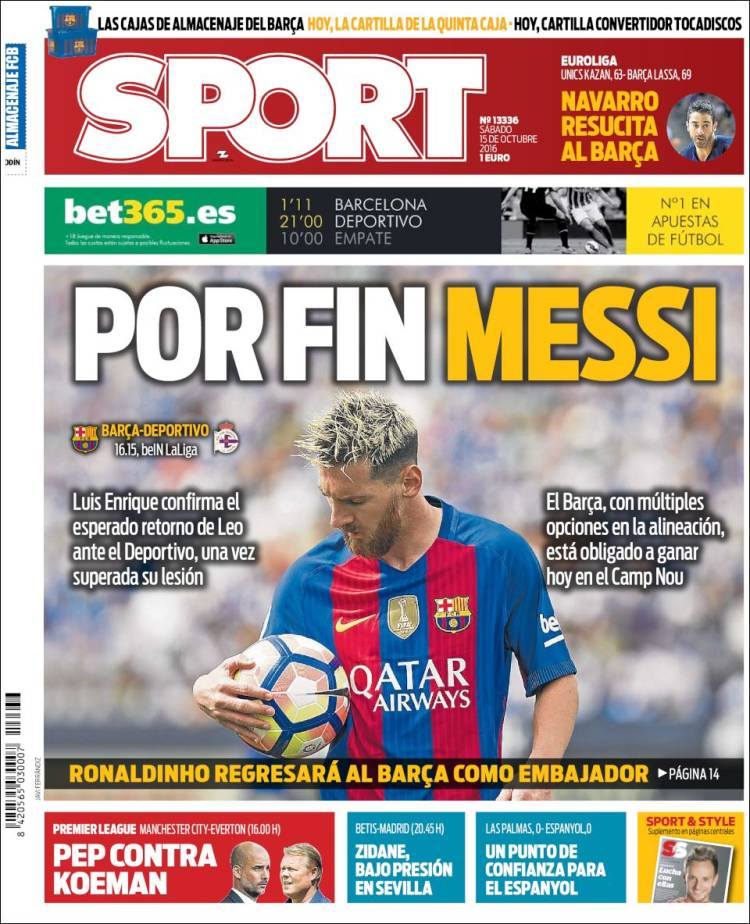 Sport Portada Messi 15.10.16