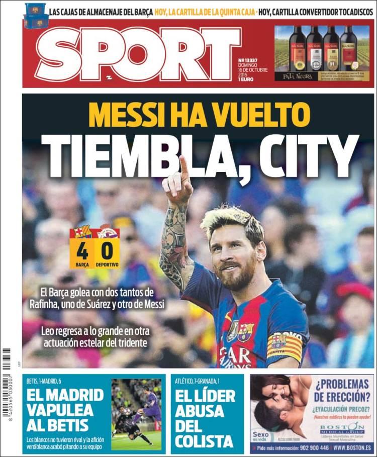Sport Portada 16.10.16