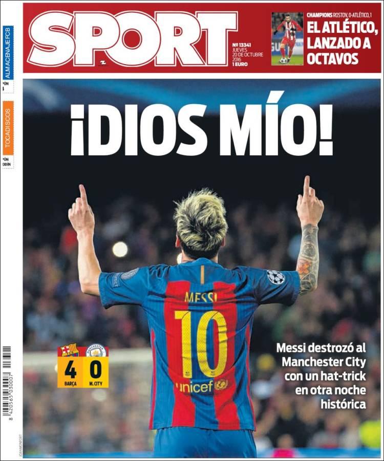 Sport Portada Dios Mío 20.10.16