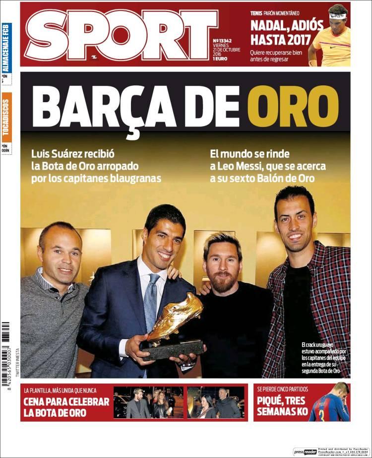 Sport Portada Barça de oro 21.10.16