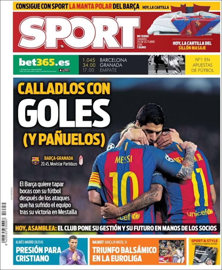 Sport Portada Goles Pañuelos 29.10.16