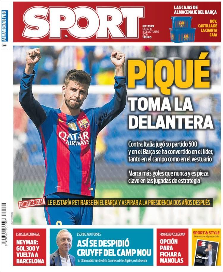 Sport Portada Piqué 08.10.16