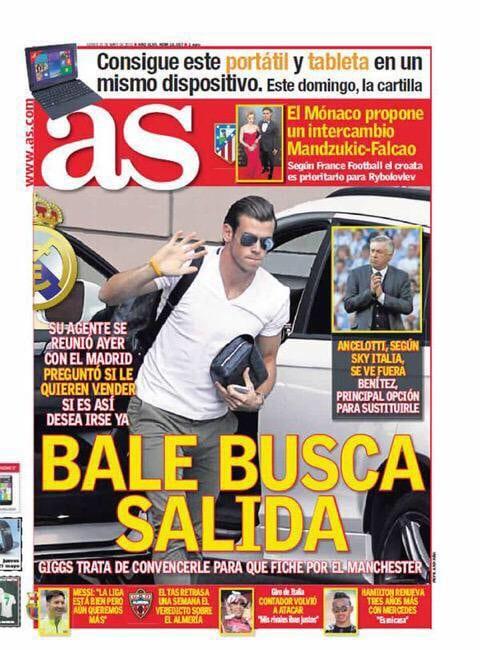 Gareth Bale en la portada del AS