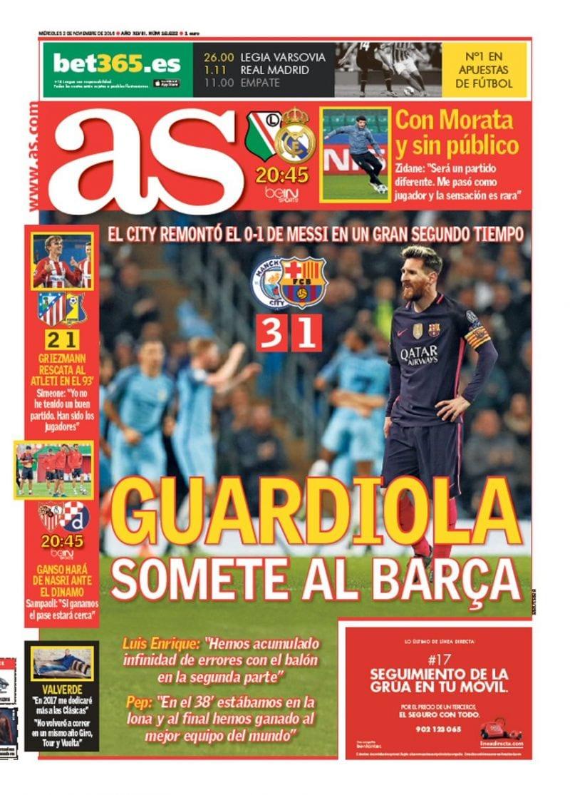 Guardiola y el Manchester City someten al Barça (AS)