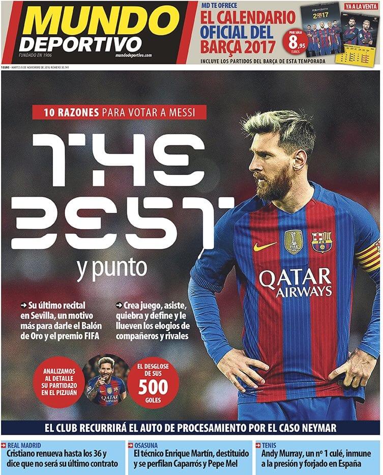 Mundo Deportivo pide el Oro para Messi