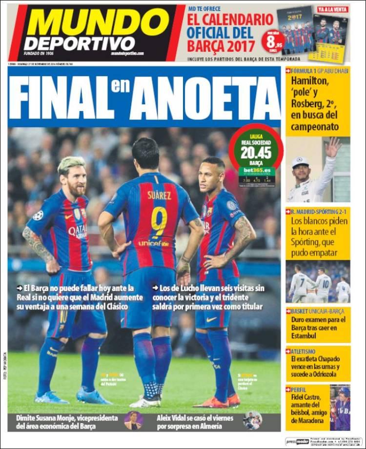 Mundo Deportivo Portada 27.11.16