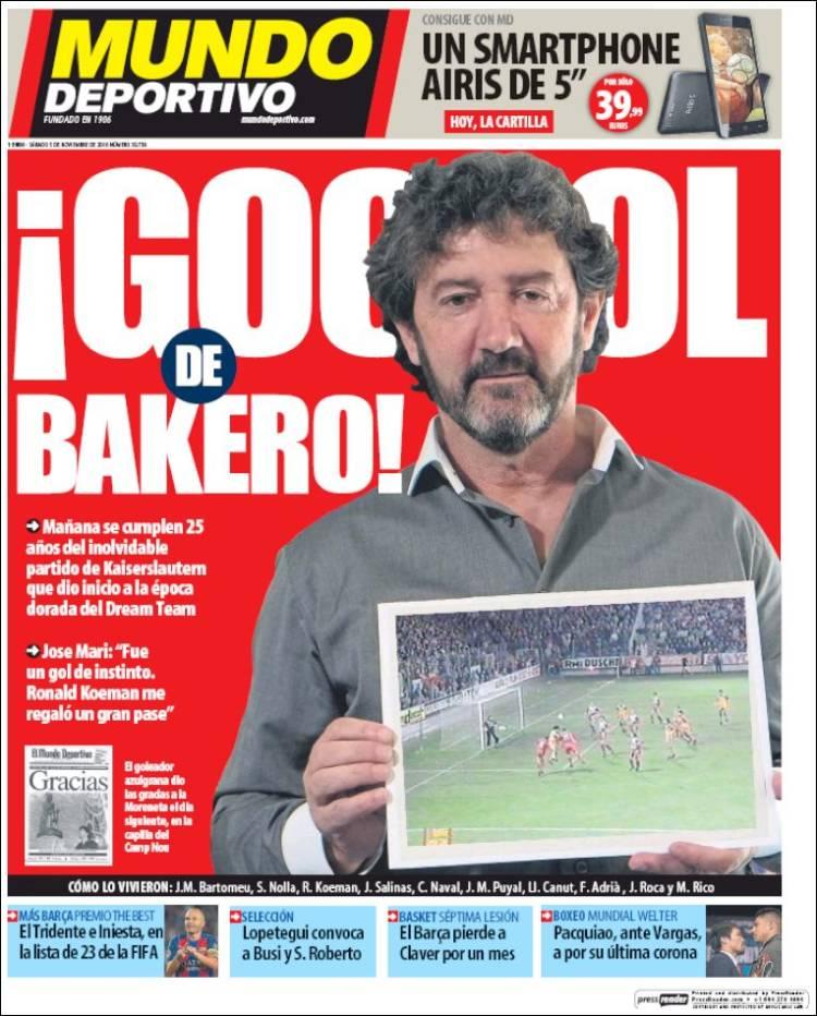 Mundo Deportivo Portada Bakero 05.11.16