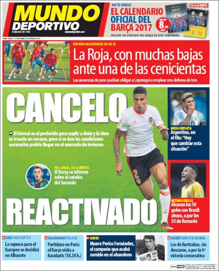 Mundo Deportivo Portada Cancelo 12.11.16