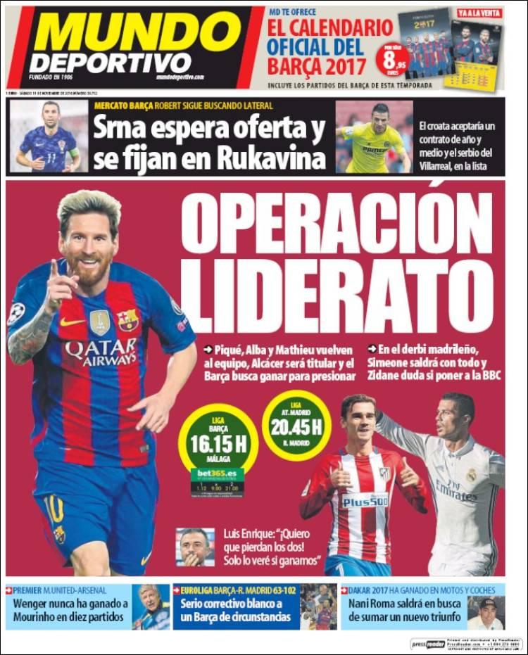 Mundo Deportivo Portada Operación liderato 19.11.16
