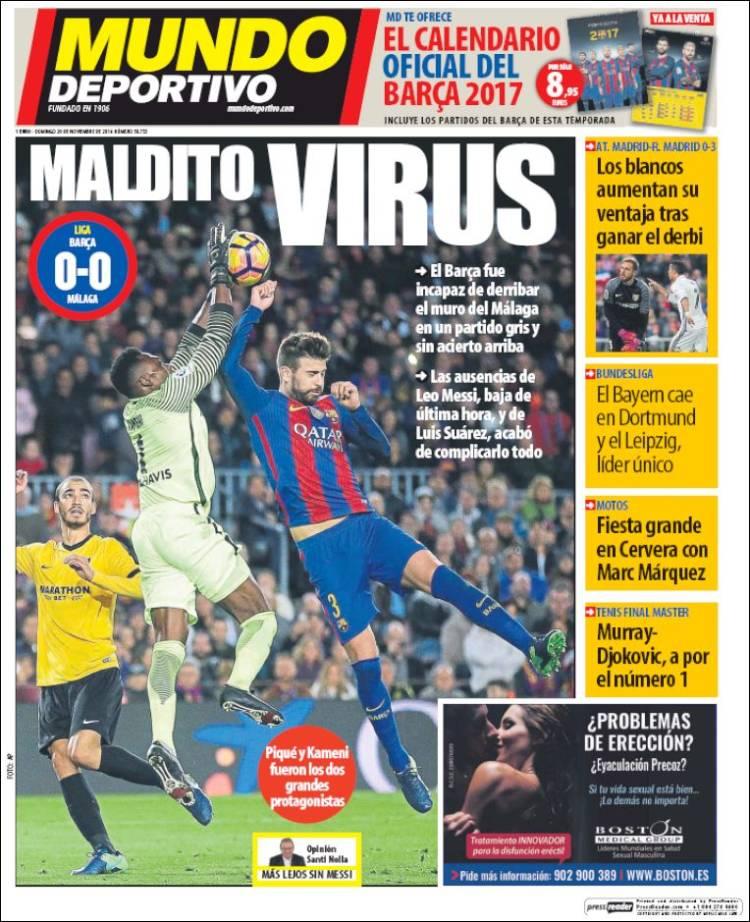 Mundo Deportivo Portada virus 20.11.16