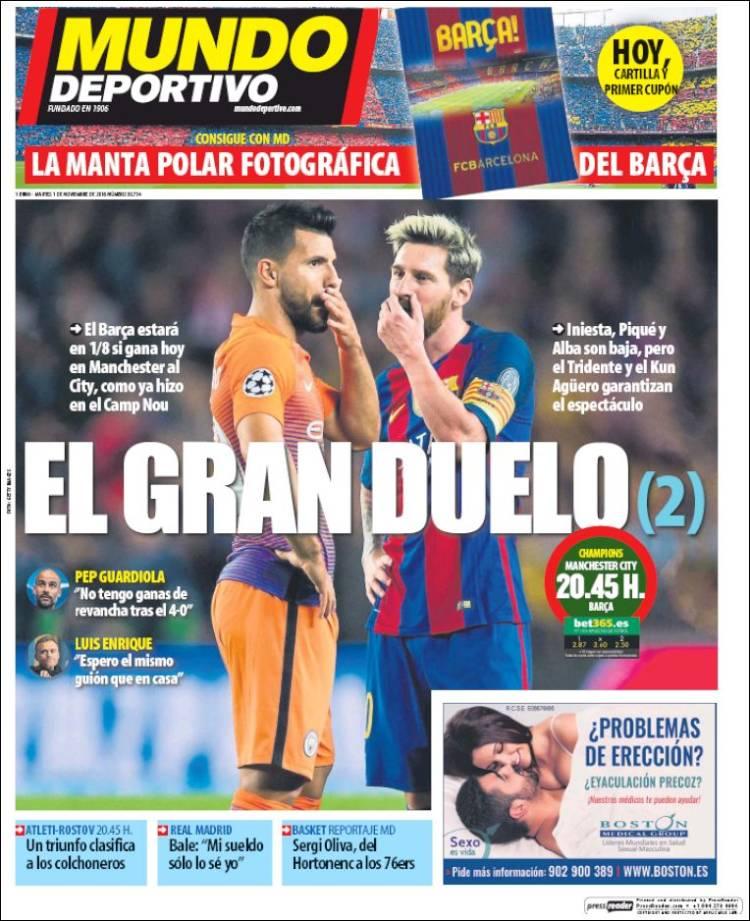Mundo Deportivo Portada gran duelo 01.11.16