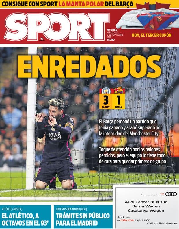 Leo Messi enredado en portada Sport