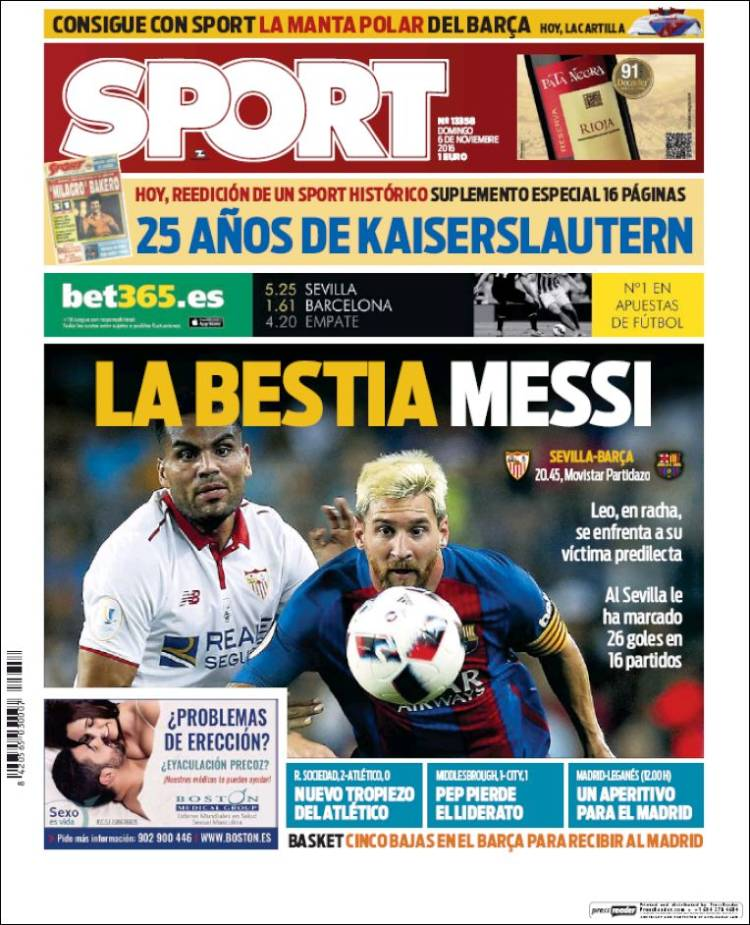 Sport Portada Messi 06.11.16