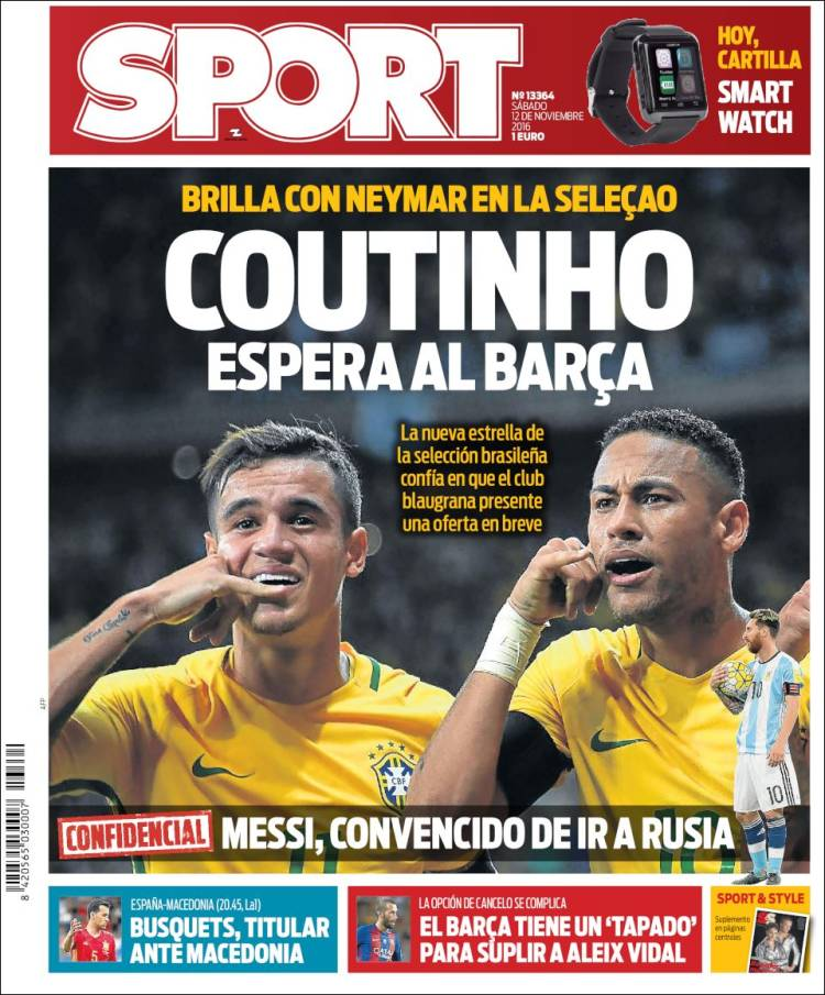 Sport Portada Coutinho 12.11.16