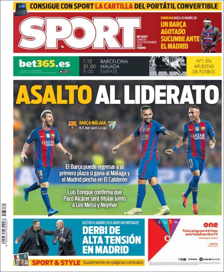 Sport Portada Liderato 19.11.16