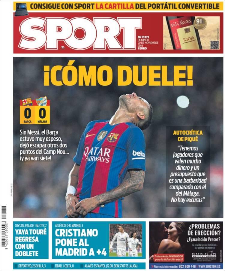 Sport Portada duele 20.11.16
