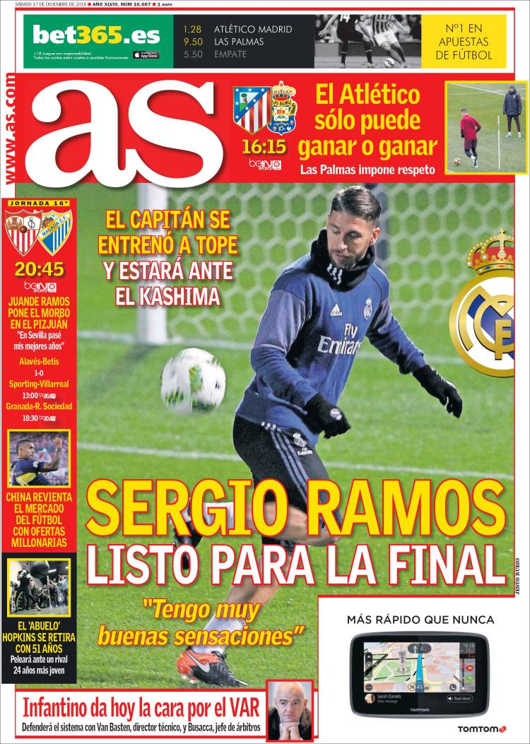 As Portada Sergio Ramos 17.12.16