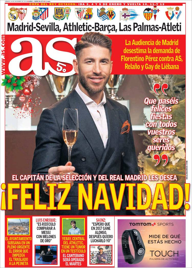 As Portada Sergio Ramos 24.12.16