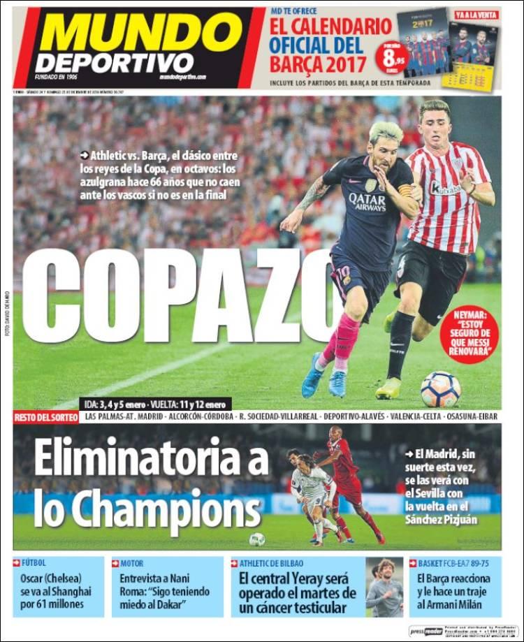 Mundo Deportivo Portada Copazo 24.12.16