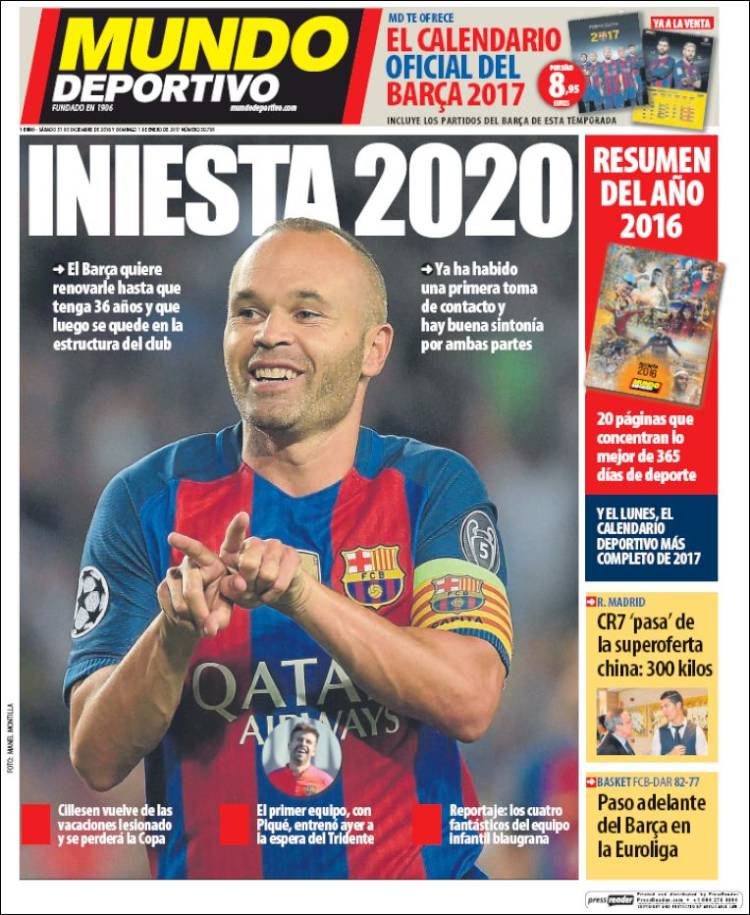 Mundo Deportivo Portada Iniesta 31.12.16