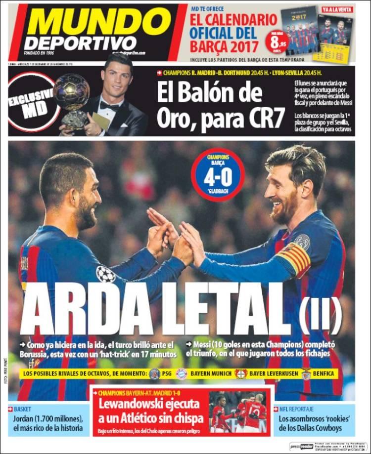 Mundo Deportivo Portada Arda Letal 07.12.16