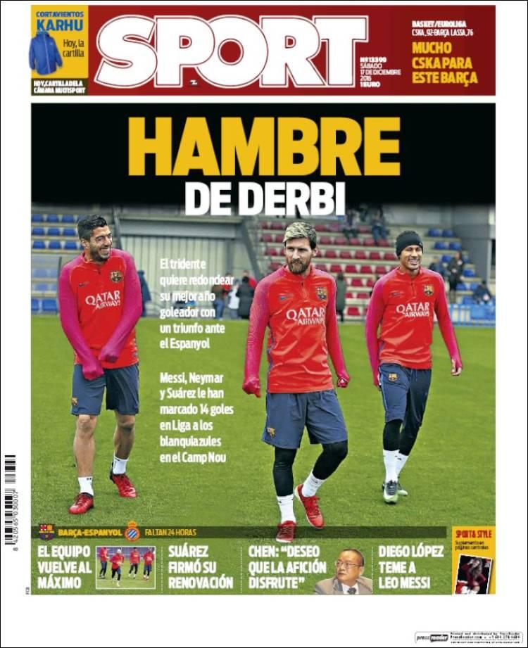 Sport Portada Derbi 17.12.16