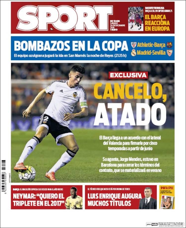 Sport Portada Cancelo 24.12.16