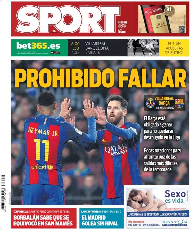 Sport Portada Fallar 08.01.17