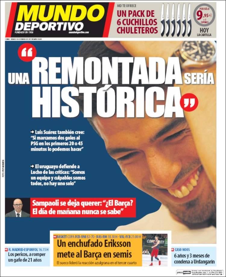 Mundo Deportivo Portada Suárez 18.02.17