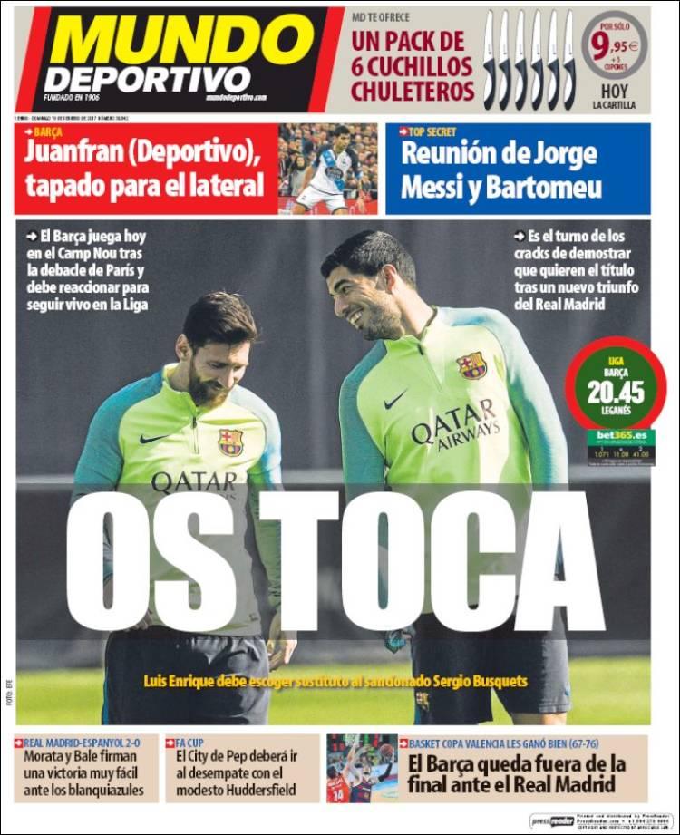 Mundo Deportivo Portada Messi Suárez 19.02.17