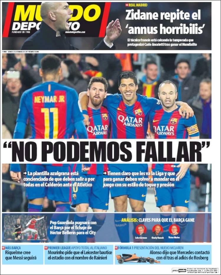 Mundo Deportivo Portada Fallar 25.02.17
