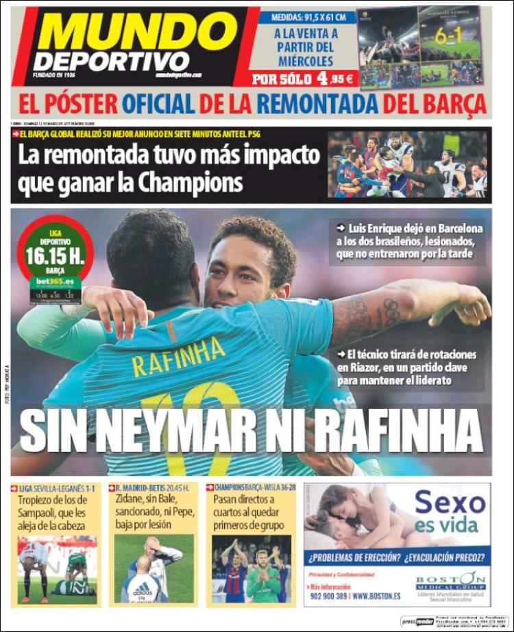 Mundo Deportivo Portada Neymar Rafinha 12.03.17