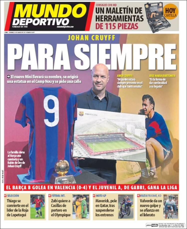 Mundo Deportivo Portada Cruyff 26.03.17