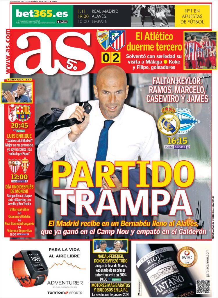 As Portada partido trampa 02.04.17