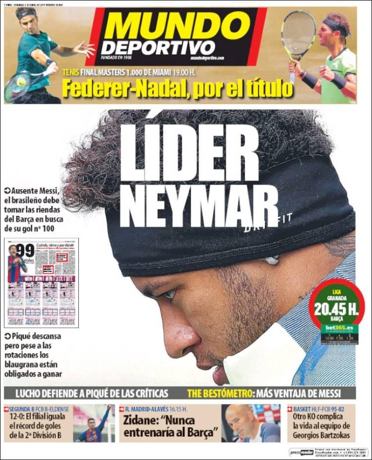 Mundo Deportivo Portada Neymar 02.04.17