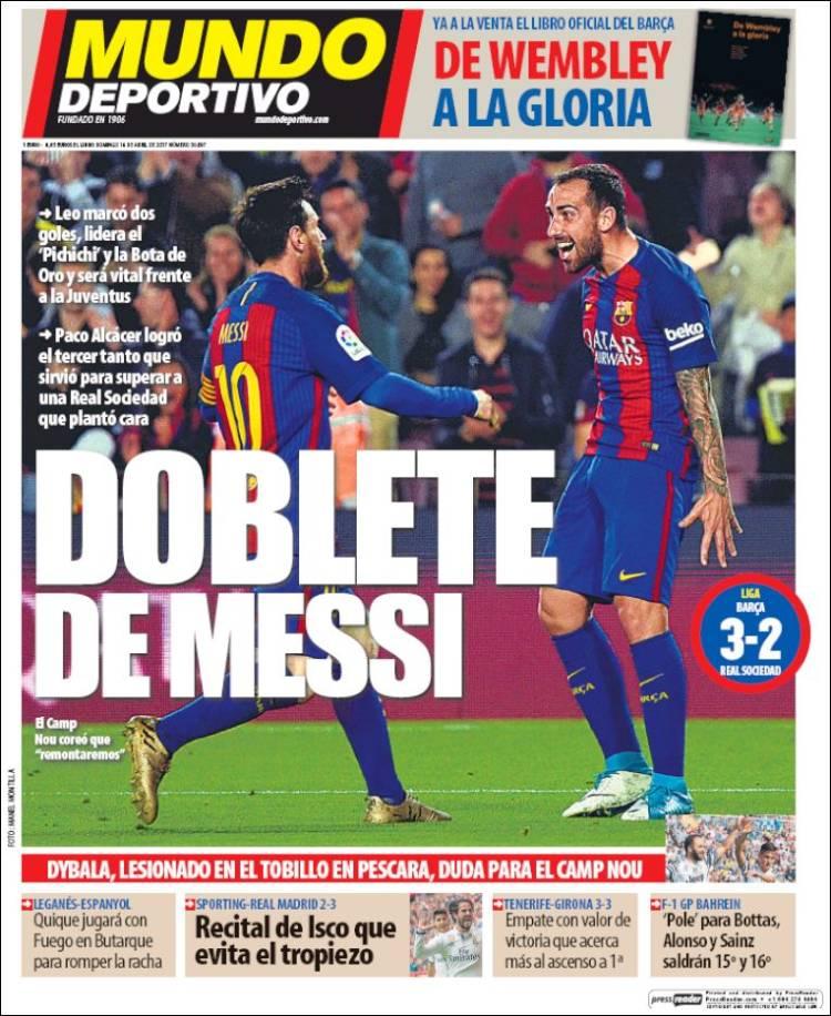 Mundo Deportivo Portada Doblete Messi 16.04.17
