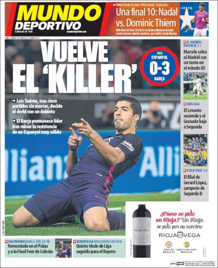 Mundo Deportivo Portada Killer 30.04.17
