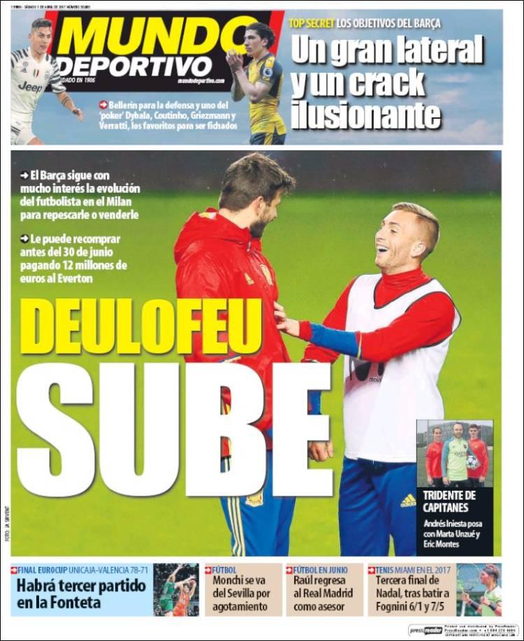 Mundo Deportivo Portada Deulofeu 01.04.17