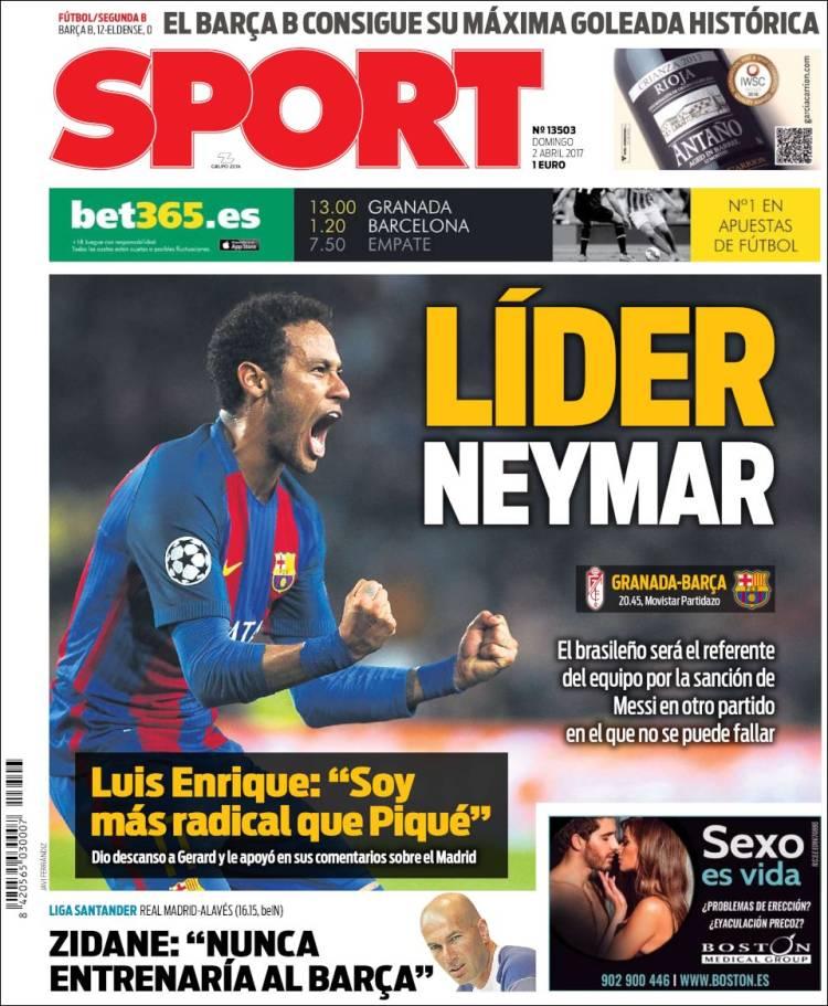 Sport Portada Neymar 02.04.17