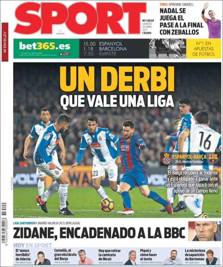 Sport Portada Derbi 29.04.17