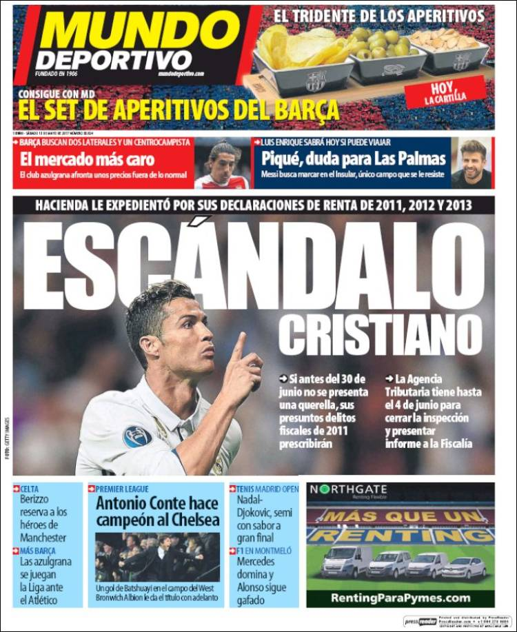 Mundo Deportivo Portada Escándalo Cristiano 13.05.17