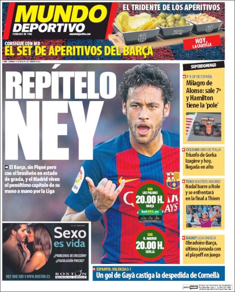 Mundo Deportivo Portada Ney 14.05.17