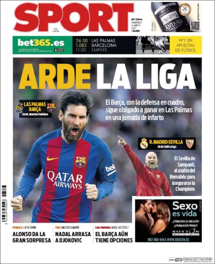 Sport Portada Arde la liga 14.05.17