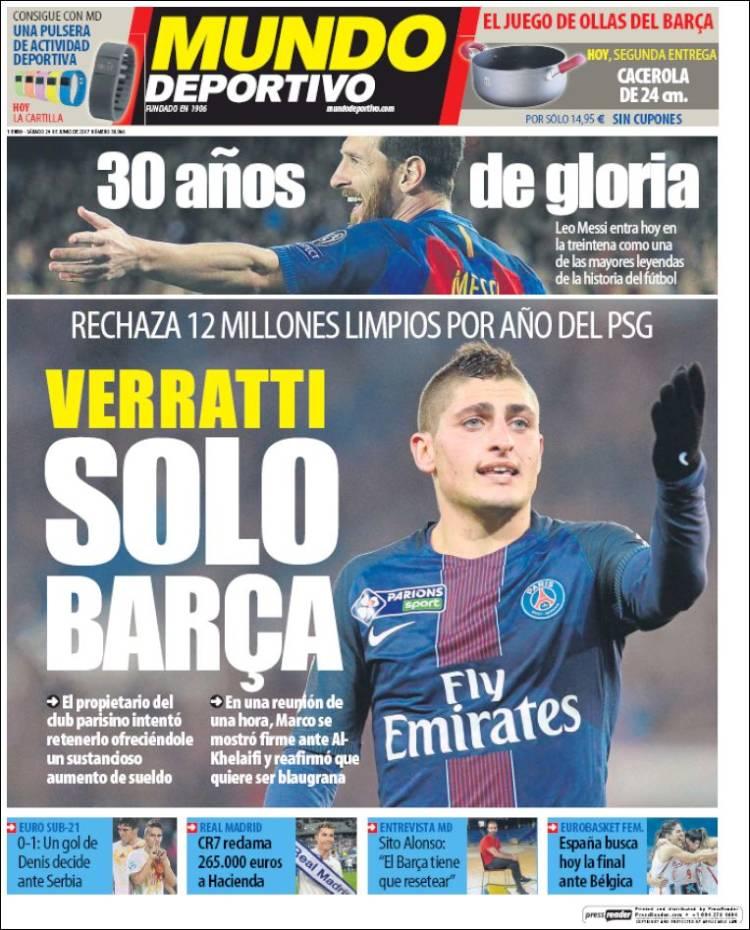 Mundo Deportivo Verratti 24.06.17